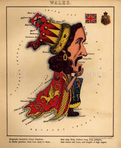 MAP ANTIQUE CARICATURE HARVEY 1868 WALES OLD LARGE REPLICA POSTER PRINT PAM0740
