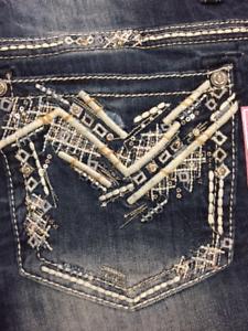 Grace In LA Women's Plus Size Chevron Stitch Bling Staight Leg Jeans PS-51156