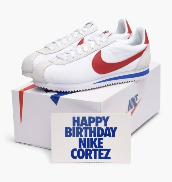 newest 60825 e6194 Nike Classic Cortez Nylon Premium FORREST GUMP USA Olympic Sz 9 White Red  Blue