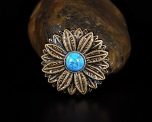 10PC-30-30MM-Flower-Concho-with-Blue-Turquoise-Center-Antique-Brass-Screwback
