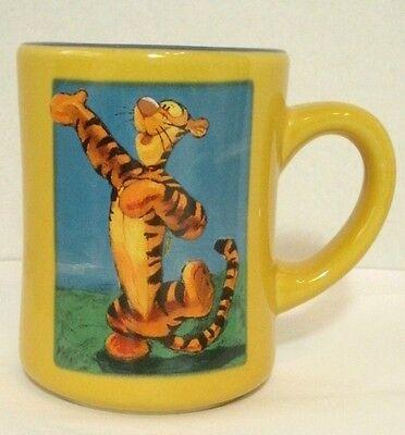 Disney Store Tigger Coffee Mug Cup Dancing Winnie the Pooh Yellow Orange