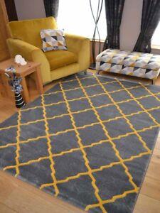 Jaune-gris-ocre-Trellis-moderne-petit-extra-large-Big-Floor-Carpet-Tapis-Bon-Marche