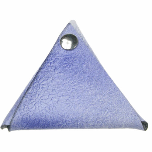 Flower Emboss Triangle Double Sided Press Stud Loose Change Coin Wallet Blue