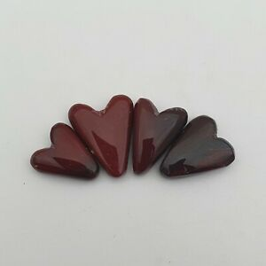 63 CT Natural Red Doted Jasper Heart Gemstone 4 Pcs 15 18-19 23 MM