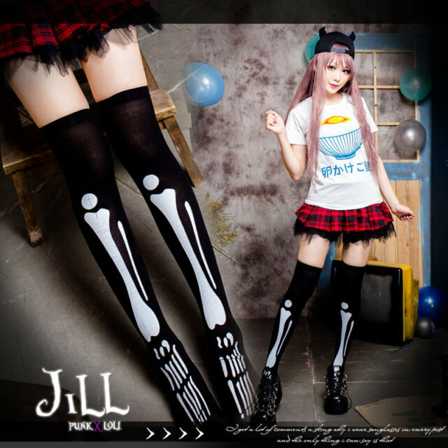 Street Punk visual Flash dance Hollow Man X-Ray skeleton knee high socks J1B026