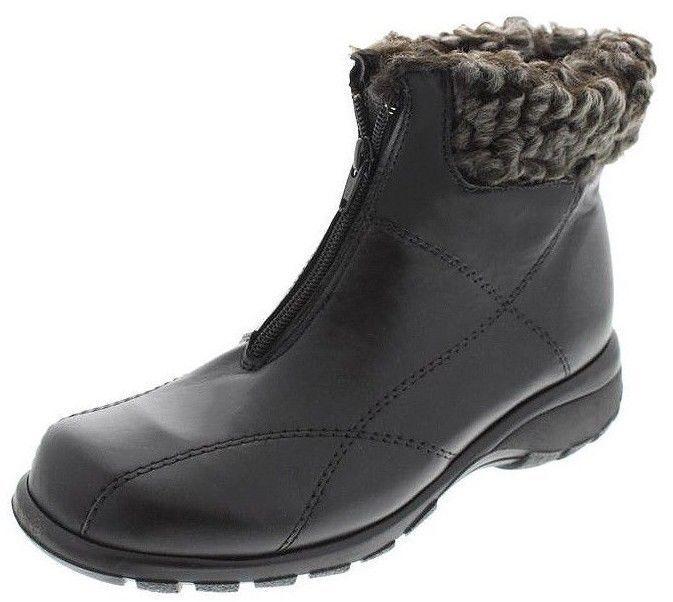 New MARTINO damen Leather Waterproof Snow Winter Front Zip Fur Stiefel schuhe Sz 8.5