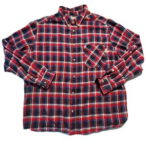 Woolrich-Mens-Flannel-Red-Blue-Plaid-Long-Sleeve-Button-Up-Casual-Shirt-XXL
