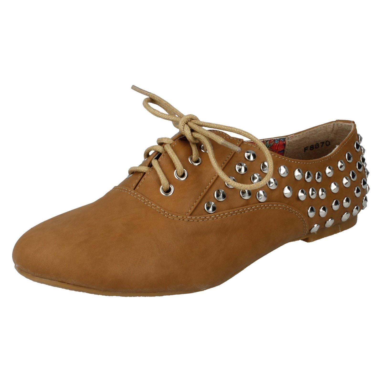 Spot On Tachuelas f8870 Mujer Tostado Piel Sintética Con Tachuelas On  Zapatos  de cordones ( 335963