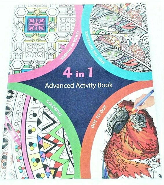 4 In 1 Advanced Activity Book Adult Spot The Difference Color By Number Dot  For Sale Online EBay