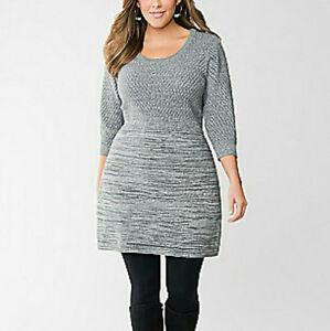 LANE-BRYANT-Sweater-DRESS-Womens-PLUS-18-20-Gray-Silver-Empire-Waist-Knee-Length