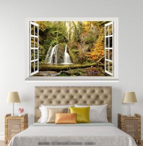 3D Trees Stream Green 218 Open Windows WallPaper Murals Wall Print AJ Carly
