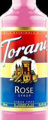 Torani Rose Rosewater Rose Water Flavoring Syrup- 750 ml glass bottle