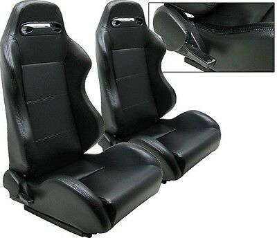 NEW 2 BLACK PVC LEATHER RACING SEATS RECLINABLE w/ SLIDER ALL DODGE
