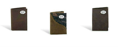 Brown NCAA Oklahoma State Cowboys Zep-Pro Wrinkle Leather Trifold Concho Wallet