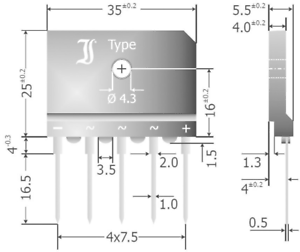 TRU Components TC-DBI25-08A Brückengleichrichter SIL-5 800V 25A Dreiphasig