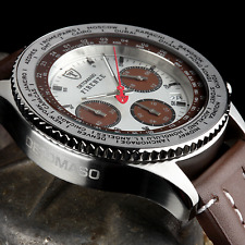 DETOMASO Firenze 42mm Mens Chrono Watch Seiko Leather White & Brown Dial New