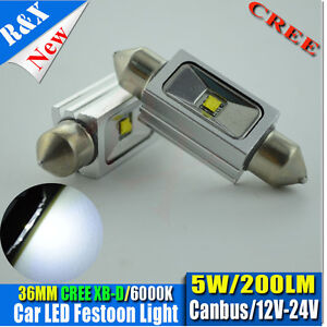 2pcs-Festoon-Dome-Led-Number-Plate-bulbs-C5W-36mm-CREE-5W-LED-200LM-WHITE-6000K