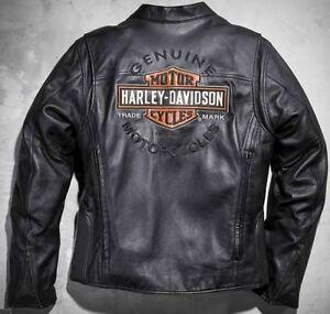 HARLEY-DAVIDSON-Hombre-CALZADA-Negro-Chaqueta-de-cuero-y-Escudo-L-98015-10vm