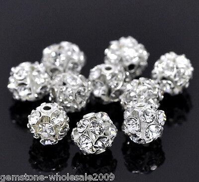 10PCS Wholesale Silver Plated Filigree Rhinestone Ball Beads 6-7mm Dia GW