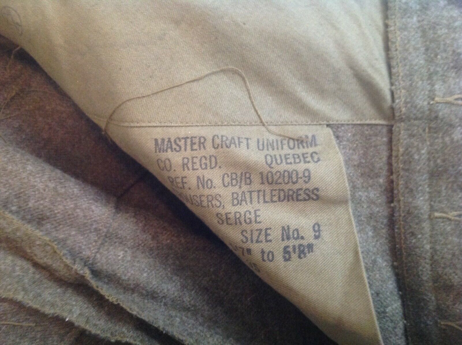 Vintage 1955 Canadian Olive Green Wool Military B… - image 8