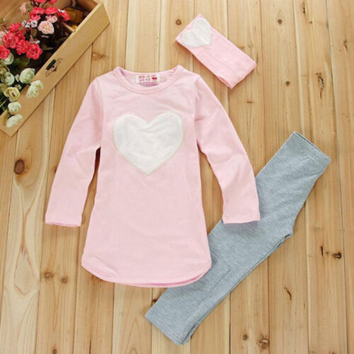 Kids Girls Outfits Set Pullover T-shirts Top Long Pants Trouser Winter Tracksuit