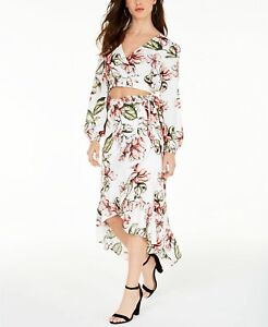 GUESS Womens White Floral Maxi Hi-Lo Skirt Pick Size
