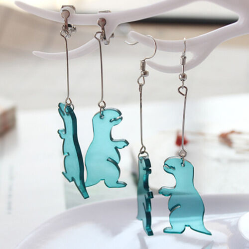 Fashion  Women Handmade Green Dinosaur Acrylic Drop Dangle Earrings Jewelry UQ