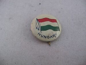 Interesting-Antique-Vintage-COUNTRY-FLAG-Pin-Pinback-HUNGARY-FLAG