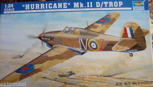 02417 British Fighter Plane 1 24 Hurricane Mk.II D-Trop Aircraft Kit Trumpeter