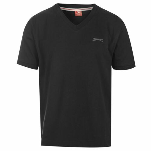 Slazenger Kids Boys Junior Plain T-Shirt V Neck Collar Short Sleeves Summer Top