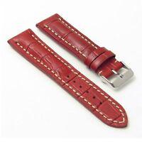 Dassari Concord Red Leather Watch Band Croc Strap Breitling Navitimer World