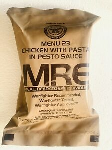 US Army Military MRE Meal, Menu #23 Chicken W/Pasta In Pesto Sauce Made 6/8/2019