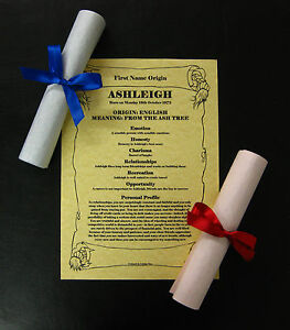 Image Is Loading Parchment Effect First Name Meaning Scroll Gift Present