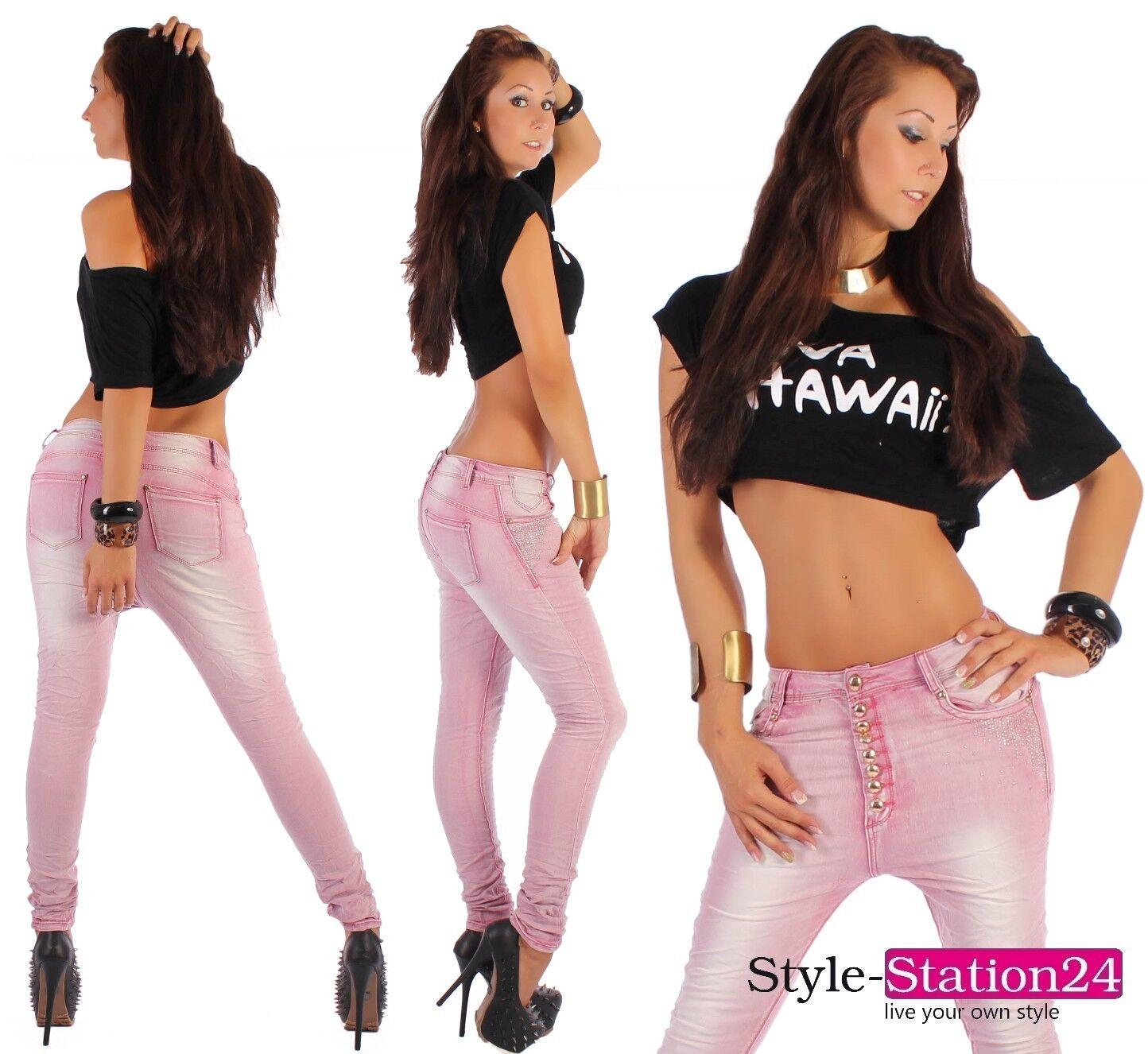 damen jeans hose antiform harem boyfriend skinny stretch rosa strass glitzer b13. Black Bedroom Furniture Sets. Home Design Ideas