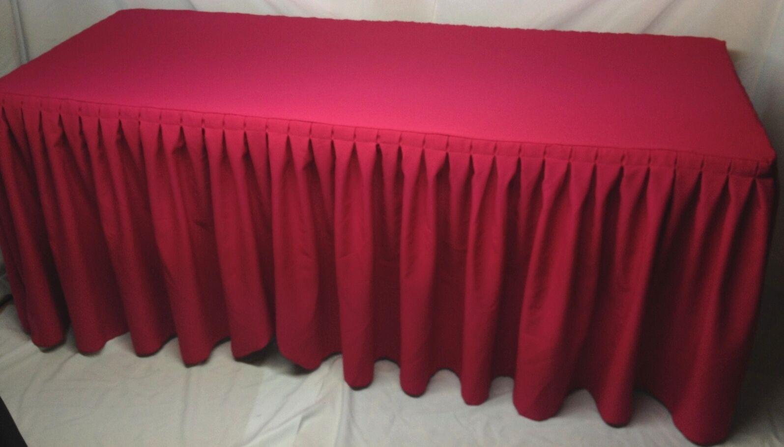 5' ft. Fitted Polyester Double Pleated Table Skirt Skirt Skirt Cover w Top Topper Hot Rosa e92886