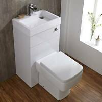 Premier Combination Toilet & Basin Unit White Gloss Choice Of Btw Pan, S/c Seat