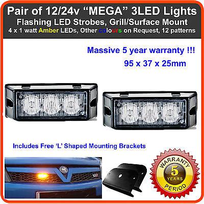 2 x 3LED 12/24V Strobe Flashing Lights Lightbar Beacon FOR LAND ROVER DEFENDER