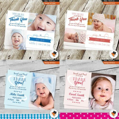 Personalised Photo THANK YOU Cards baby boy or girl Birthday Christening Poison