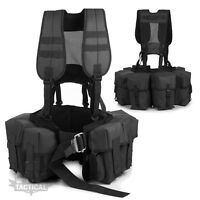 BRITISH ARMY PLCE STYLE AIRBORNE WEBBING FIXED POUCH BELT KIT BLACK SECURITY