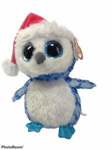 """Ty NEW Beanie Boo Boos ICICLES Holiday Owl 6"""" Sparkle Eyes RED Tag 2014"""
