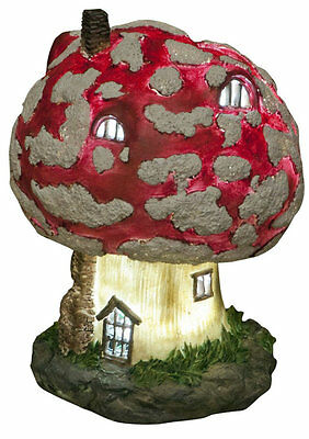 18cm Solar Powered Soft LED Toadstool Fairy House Garden Ornament Porch Light