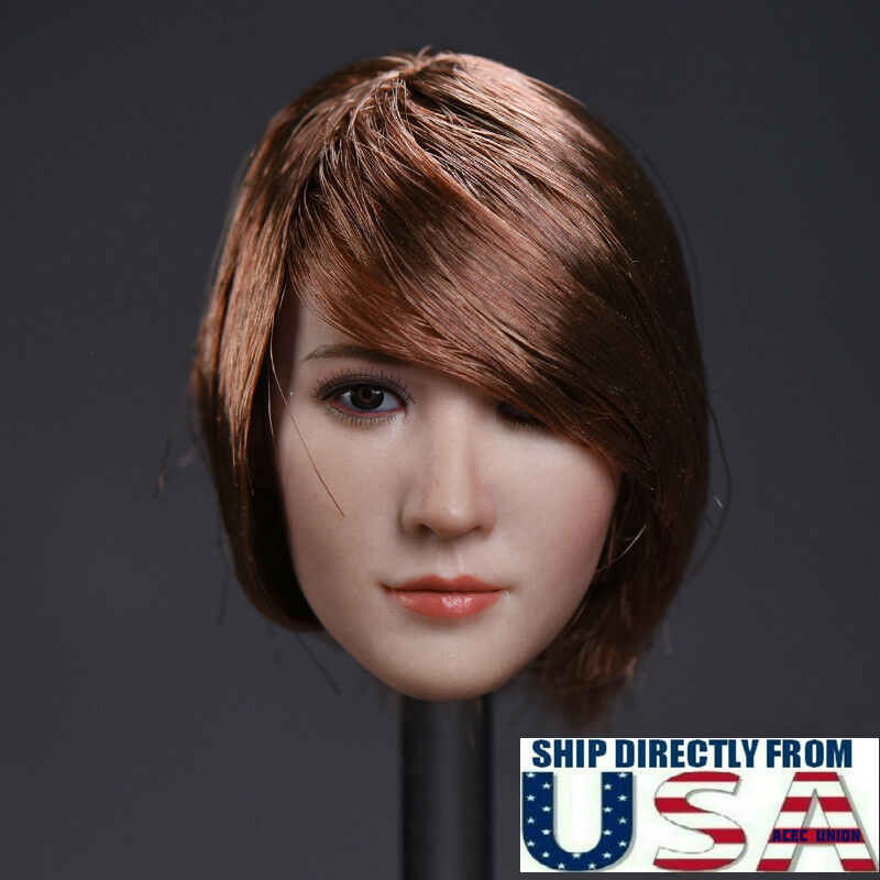 1 6 Asian Female Head Sculpt D Short Hair For PHICEN TBLeague HotToys Figure USA