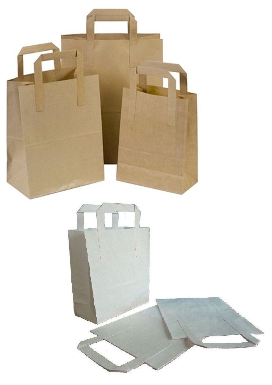 braun or Weiß Kraft Paper SOS Flat Handle Party Paper Bags Takeaway Loot Gifts