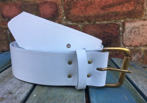 White Belt 2 Pouces Wide 100/% Real leather handmade Choice of Buckle /& Keeper Loop