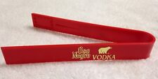 NOS Vtg Oso Negro Vodka Red Plastic Ice Tongs w/ Metallic Logo - unused