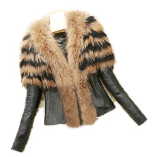 Luxury Womens Faux Fur PU Leather Coat Ladies Warm Big Fur Collar Jacket Outwear