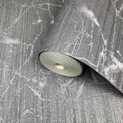 Wallpaper gray silver Metallic Textured Plain faux sackcloth textile textures 3D