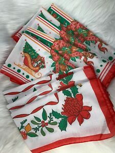 Vintage-Christmas-Holiday-Mix-Lot-Holly-Bells-Sleighs-Red-Green-Napkins-Lot-of-8