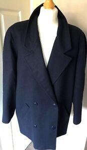 JAEGER-Navy-Blazer-Jacket-size-14-50-Wool-50-Cashmere-shoulder-pads