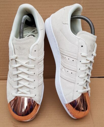 Adidas Or Métal Taille 6 Uk En Rose Beige Daim Baskets Superstar 80's En axHqgar